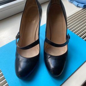 Christian Louboutin black leather mary jane's